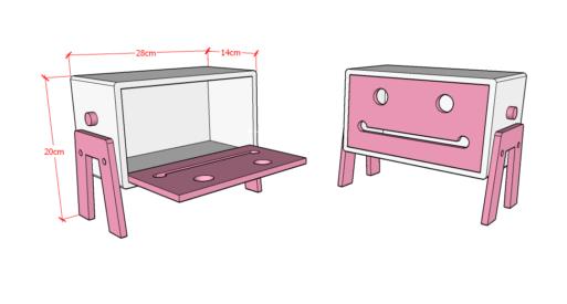 Robo Tissue Box White Pink