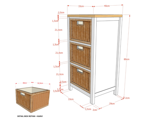 Furniture - Rak - Chest 3 Drawer NW