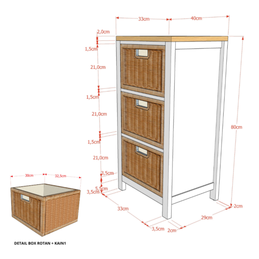 Chest 3 Drawer UWITAN