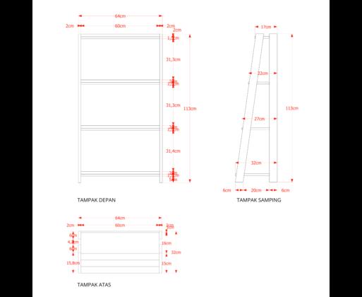 Furniture - Rak - Book Case 4 Tingkat