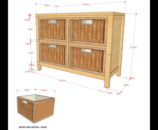 Furniture - Rak - Chest 2x2 Drawer Natural